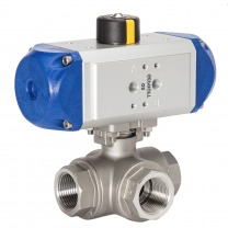 pneumatic 3-way stainless steel ball valves