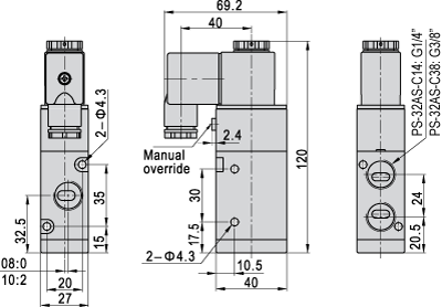 Dimensions of type PS-32AS-C14-230AC