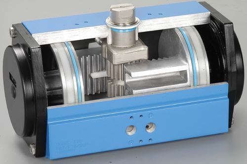 Double acting dual rack-and-pinion rotary actuators