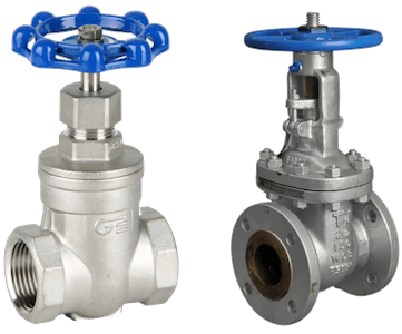 Gate valves with a screw-in bonnet (left) and a bolted bonnet (right)