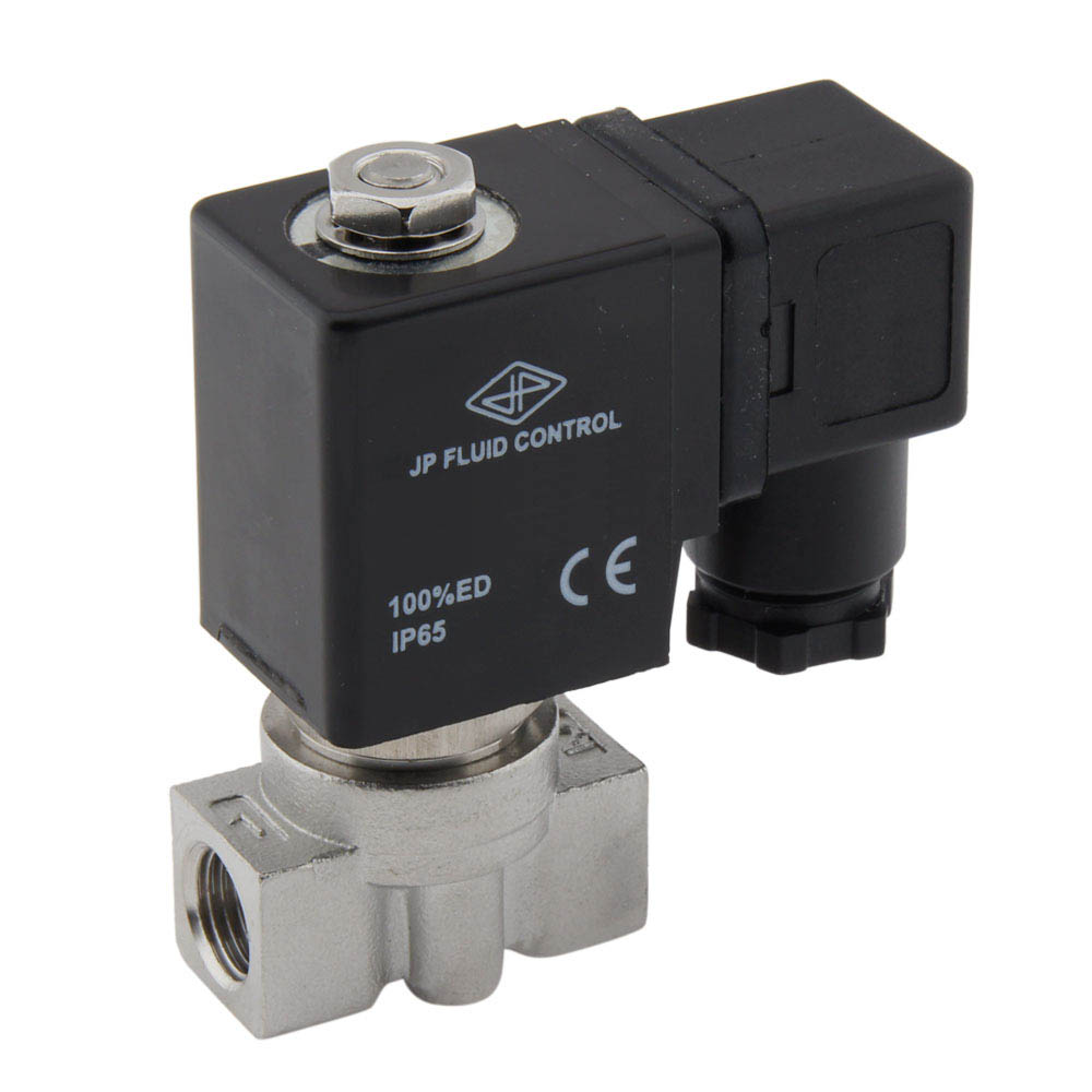 A custom-made stainless steel directly controlled solenoid valve finally gave the desired results.